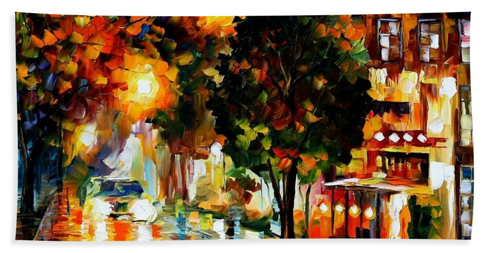 Afremov Bath Sheet featuring the painting The Glowing Night by Leonid Afremov