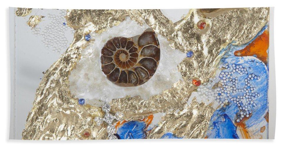 The Golden Flow Of Expansion Hand Towel featuring the glass art The Golden Flow Of Expansion by Heidi Sieber