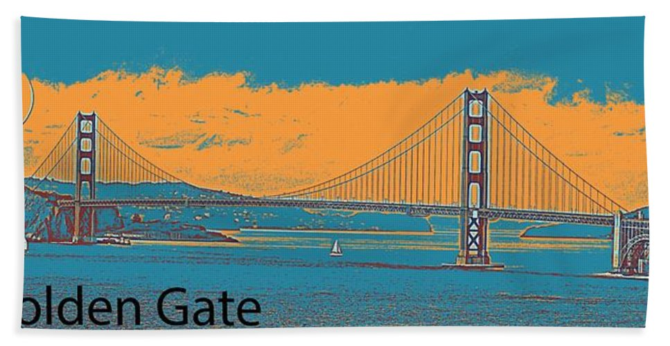 Nature Bath Sheet featuring the painting The Golden Gate Bridge In Sfo California Travel Poster 2 by Celestial Images