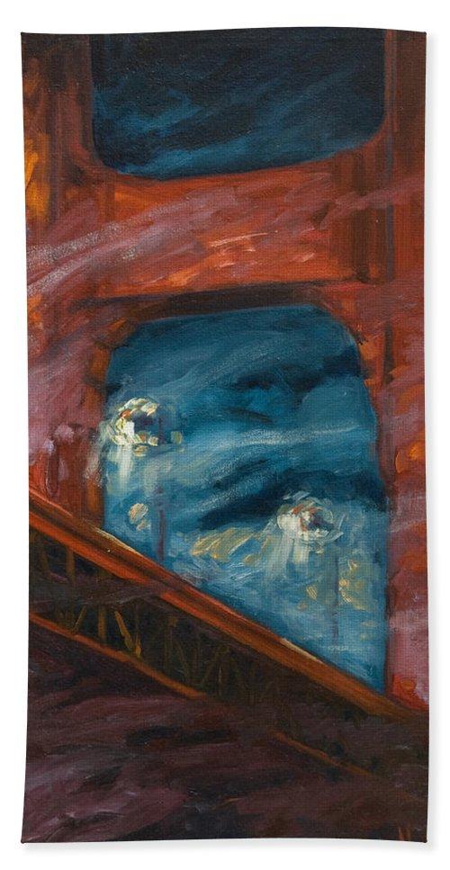 Bridge Bath Sheet featuring the painting The Golden Gate by Rick Nederlof