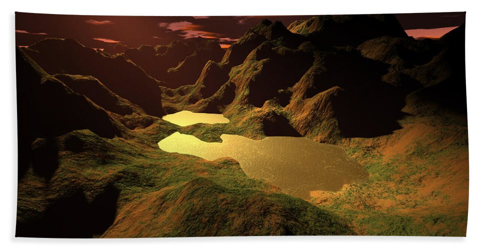 Digital Art Hand Towel featuring the digital art The Golden Lake by Gaspar Avila