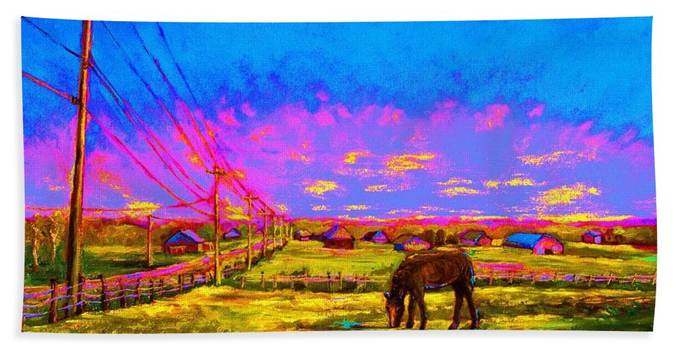Western Art Bath Sheet featuring the painting The Golden Meadow by Carole Spandau