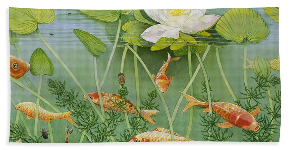 Aquatic Hand Towel featuring the painting The Golden Touch by Pat Scott