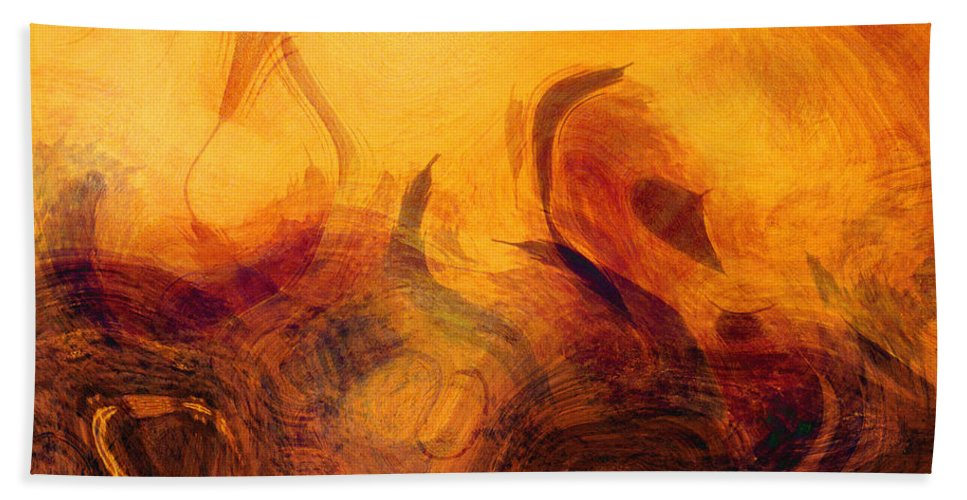 Modern Hand Towel featuring the painting The Golden Tree by Ken Figurski