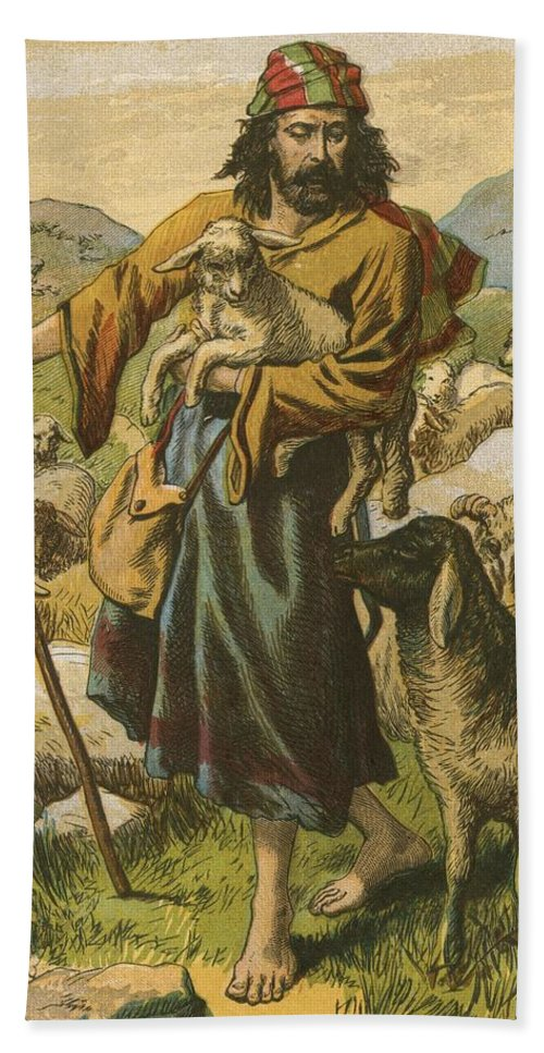 Jesus Christ; Bible; Life; Lessons; Good Shepherd Bath Sheet featuring the painting The Good Shepherd by English School