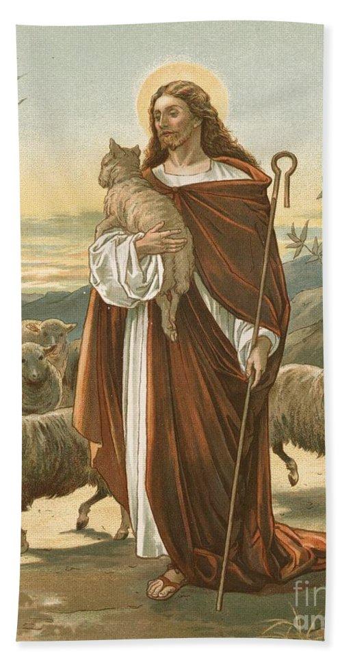 Bible; The Good Shepherd; Jesus Christ; Sheep; Halo; Crook Bath Sheet featuring the painting The Good Shepherd by John Lawson