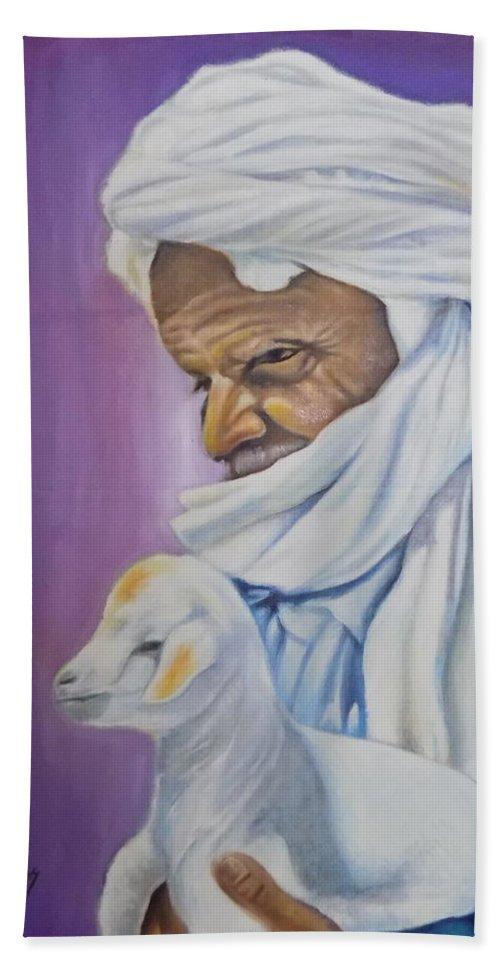 Purple Bath Sheet featuring the painting The Good Shepherd by Olaoluwa Smith