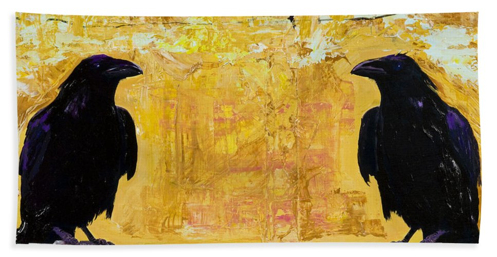 Abstract Realism Bath Sheet featuring the painting The Gossips by Pat Saunders-White
