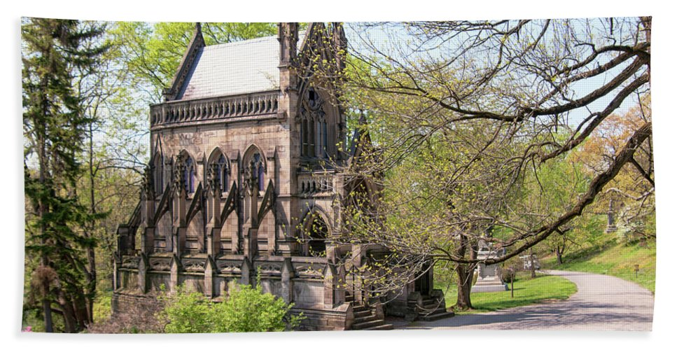 The Gothic Chapel In Spring Grove Cemetery Bath Sheet featuring the photograph The Gothic Temple In Spring Grove Cemetery by Phyllis Taylor
