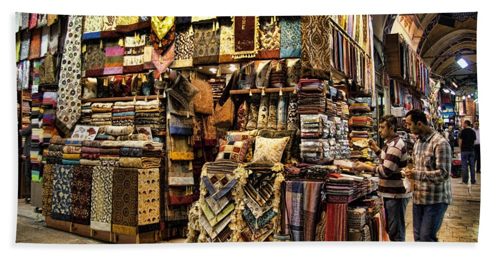 Turkey Bath Sheet featuring the photograph The Grand Bazaar In Istanbul Turkey by David Smith