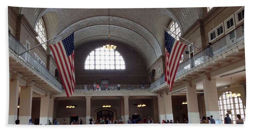 Ellis Island Hand Towel featuring the photograph The Grand Registry Room by Christy Gendalia