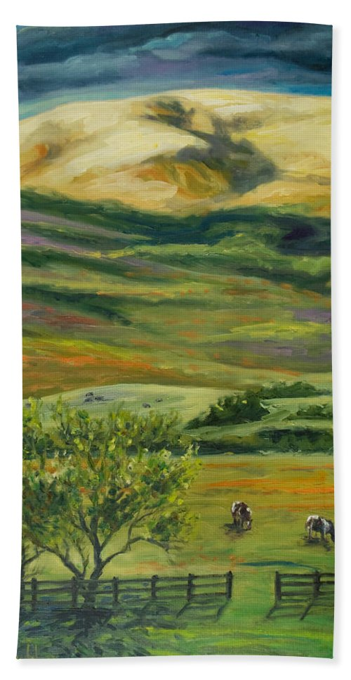 California Hills Bath Towel featuring the painting The Grapevine by Rick Nederlof