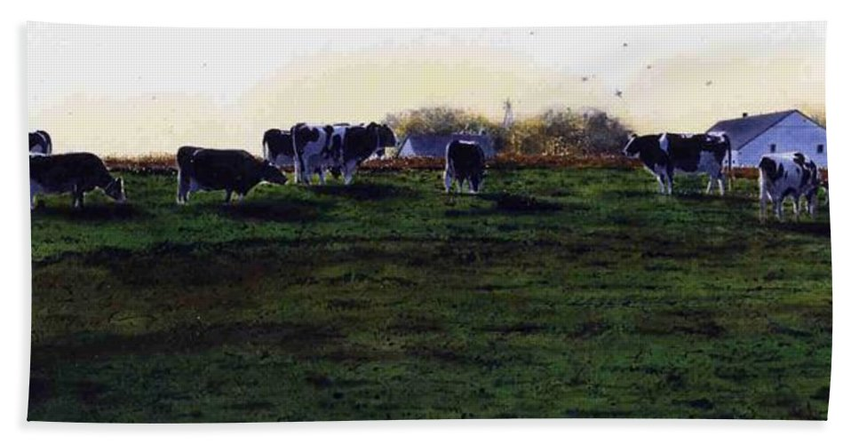 Cows Hand Towel featuring the painting The Grass Is Greener by Denny Bond