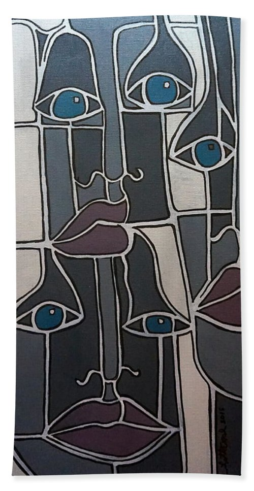 Faces Lips Eyes Noses Gray Gray Blue Gray Red Hand Towel featuring the painting The Gray Faces by Rick Litteral