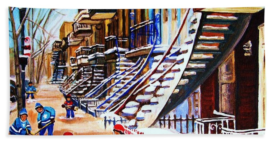 Hockey Hand Towel featuring the painting The Gray Staircase by Carole Spandau