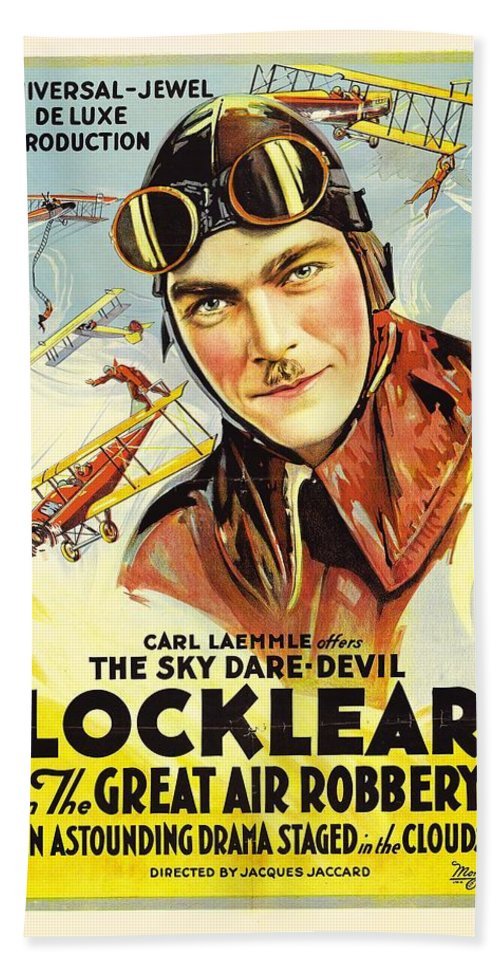 Movie Bath Sheet featuring the drawing The Great Air Robbery 1919 by Mountain Dreams