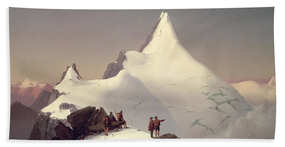 Landscape; Snow; Winter; Alpine; Peak; Climbers; Climber; Climbing; View; Mountaineer; Porter; Cloud; Avalanche; Austria Hand Towel featuring the painting The Great Bellringer by Marcus Pernhart