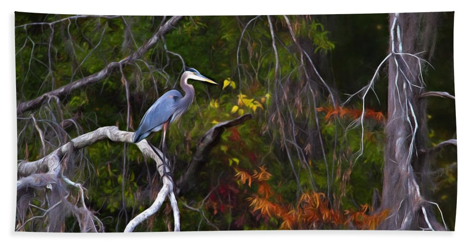 Animal Bath Sheet featuring the photograph The Great Blue Heron by Lana Trussell