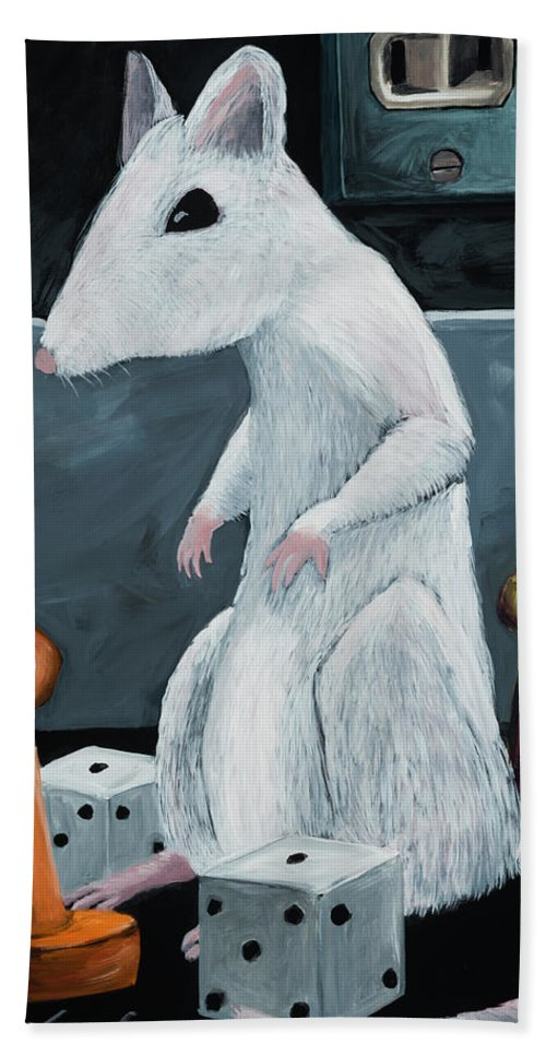 Mouse Hand Towel featuring the painting The Great Game by Shari Michaud