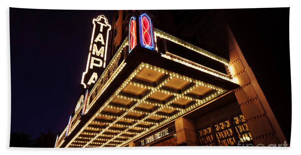 Tampa Theatre Hand Towel featuring the photograph The Great Movie Marquee by David Lee Thompson