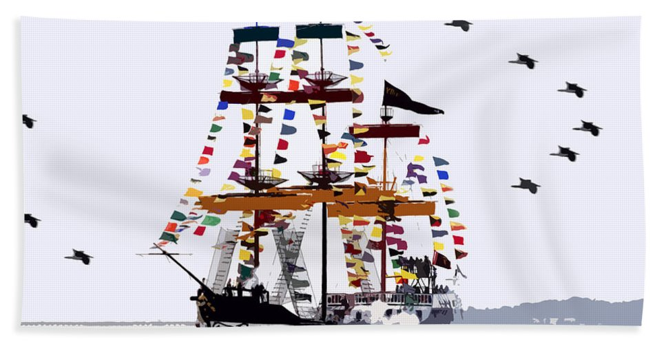 Gasparilla Hand Towel featuring the painting The Great Ship Gasparilla by David Lee Thompson