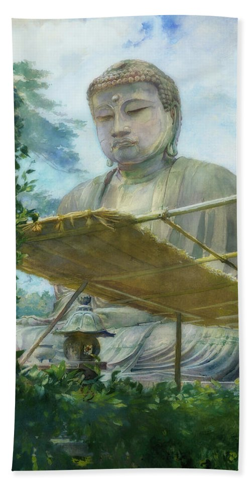 Painting Hand Towel featuring the painting The Great Statue Of Amida Buddha At Kamakura by John La Farge