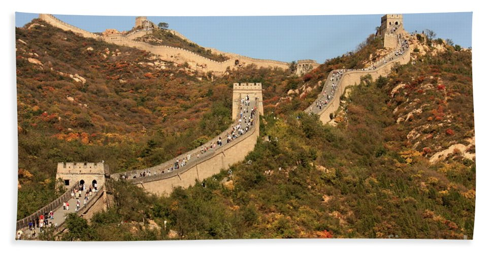 The Great Wall Of China Bath Sheet featuring the photograph The Great Wall On Beautiful Autumn Day by Carol Groenen