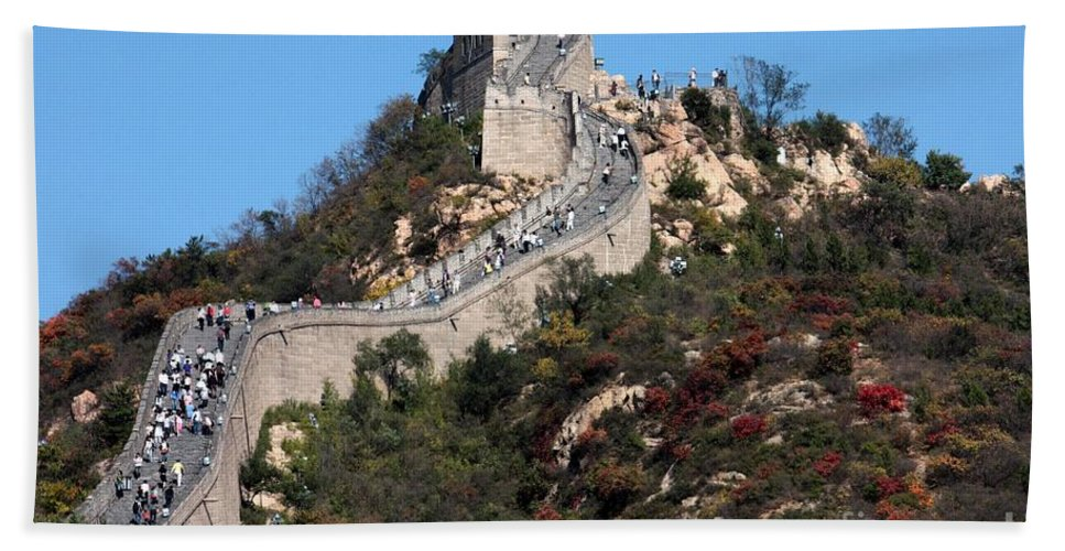 The Great Wall Of China Bath Sheet featuring the photograph The Great Wall Mountaintop by Carol Groenen