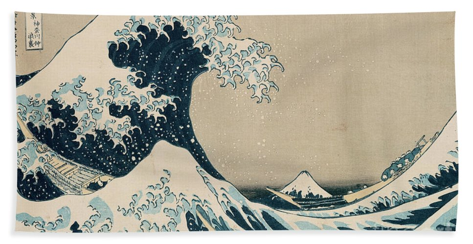Wave Hand Towel featuring the painting The Great Wave of Kanagawa by Hokusai