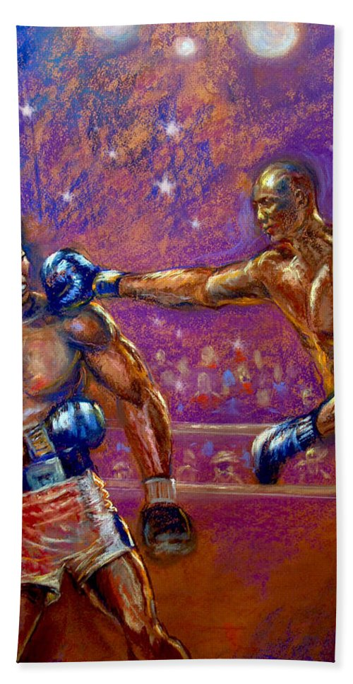 Boxing Hand Towel featuring the pastel the Greatest Muhammed Ali vs Jack Johnson by Tommy Winn