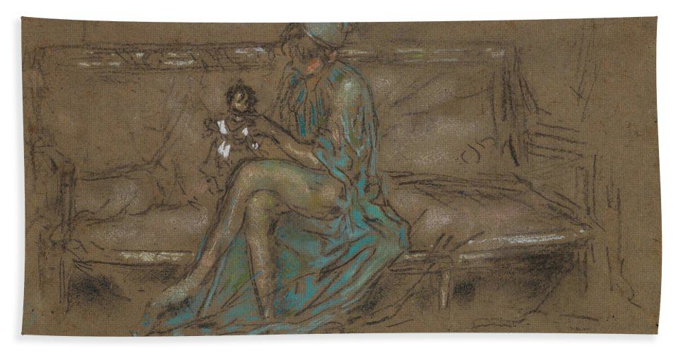 19th Century American Painters Bath Sheet featuring the pastel The Green Cap by James Abbott McNeill Whistler