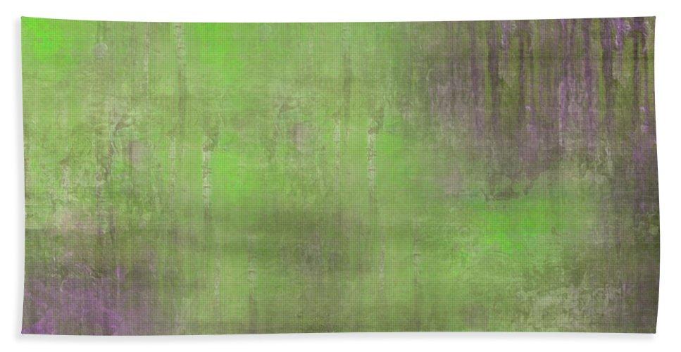 Digital Graphic Bath Sheet featuring the digital art The Green Fog by Mihaela Stancu