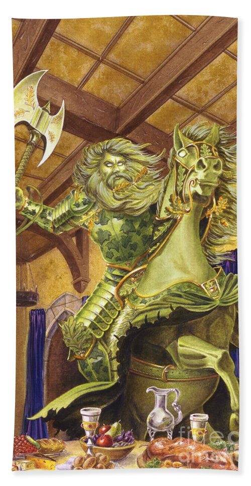 Fine Art Hand Towel featuring the painting The Green Knight by Melissa A Benson