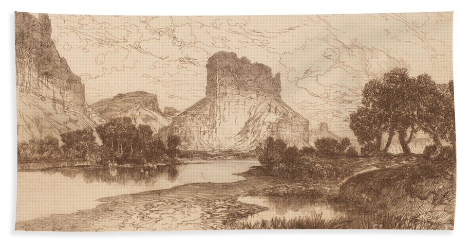 Hand Towel featuring the drawing The Green River, Wyoming Territory by Thomas Moran