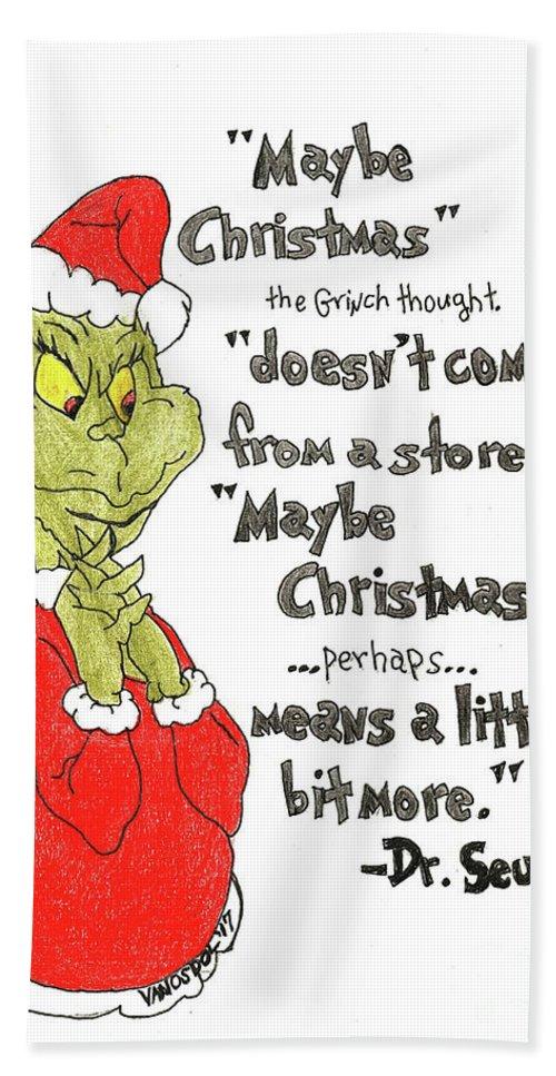The Grinch Christmas.The Grinch Christmas Quote Hand Towel