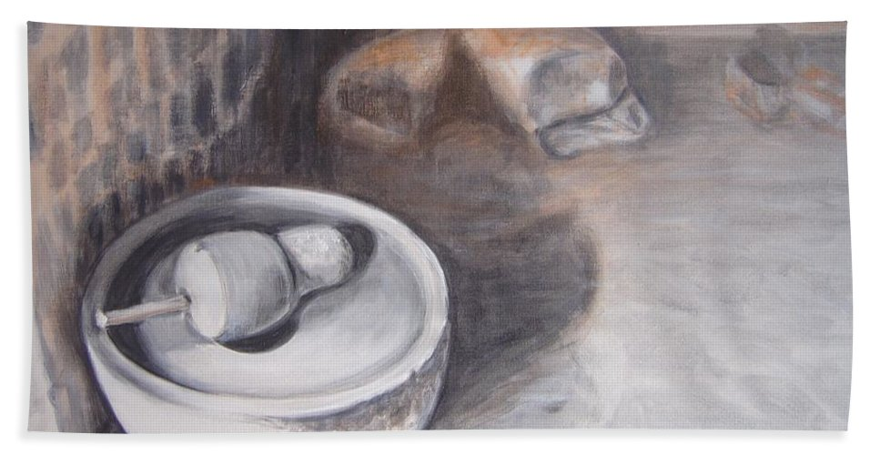 Grinding Bath Sheet featuring the painting The Grinding Stone by Usha Shantharam