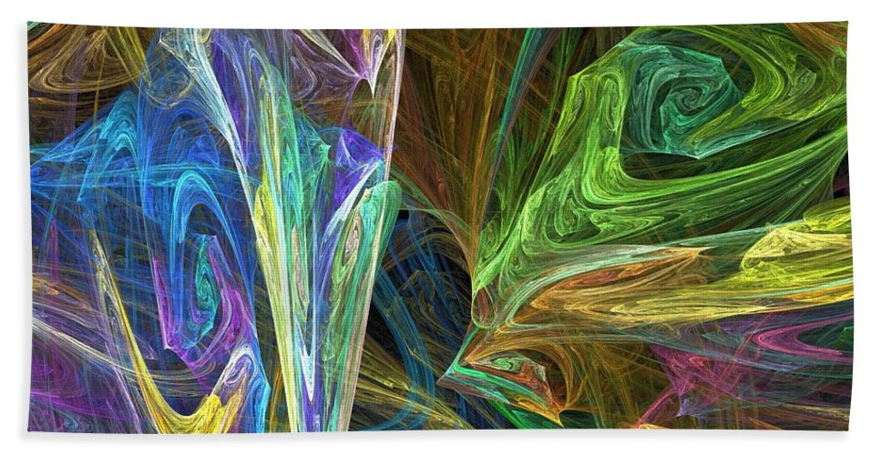 Fractals Bath Towel featuring the digital art The Groove by Richard Rizzo