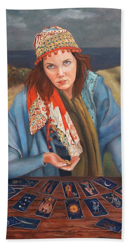 Figurative Art Bath Sheet featuring the painting The Gypsy Fortune Teller by Portraits By NC