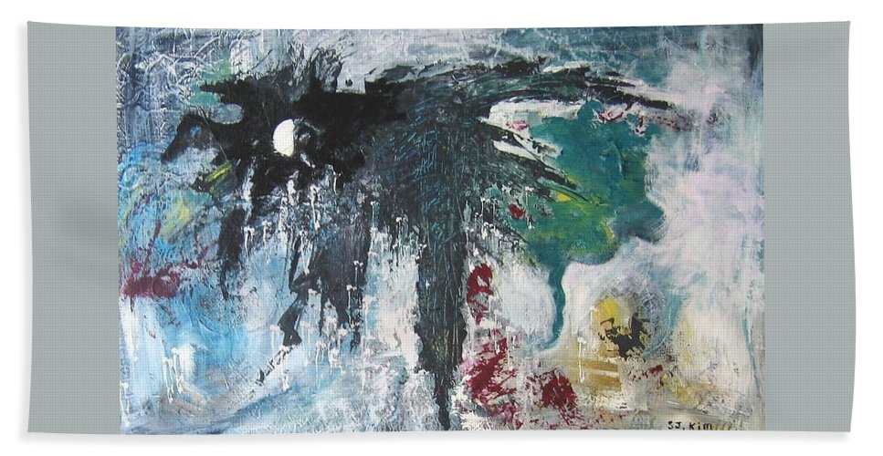 Abstract Paintings Hand Towel featuring the painting The Half Moon by Seon-Jeong Kim