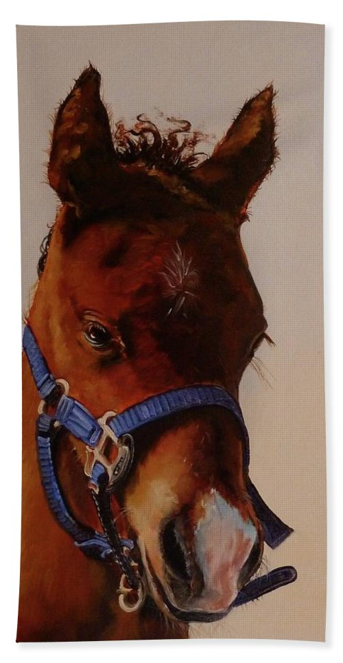 Judy Bradley Bath Towel featuring the painting The Halter by Judy Bradley