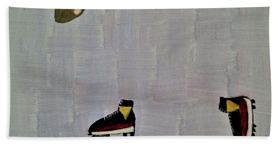 Red Hand Towel featuring the painting The Hand 2 by Regina Combs