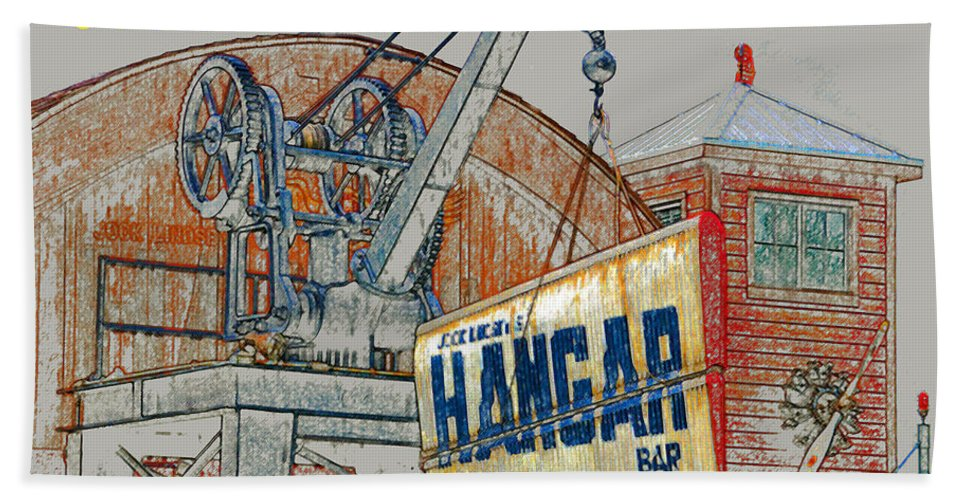 Jock Lindseys Hangar Bar Hand Towel featuring the painting The Hangar Bar Poster Work A by David Lee Thompson