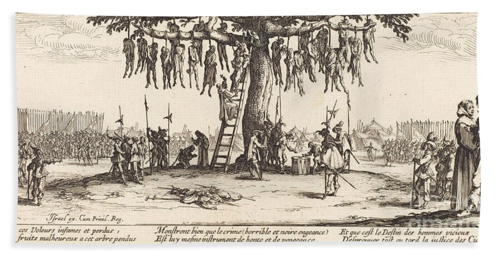 Hand Towel featuring the drawing The Hanging by Jacques Callot