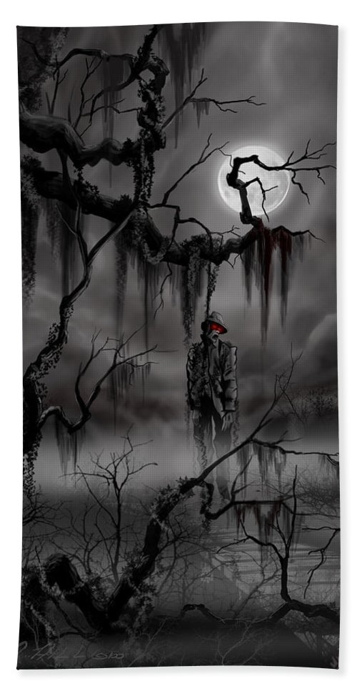 Nightmare Bath Sheet featuring the painting The Hangman by James Christopher Hill