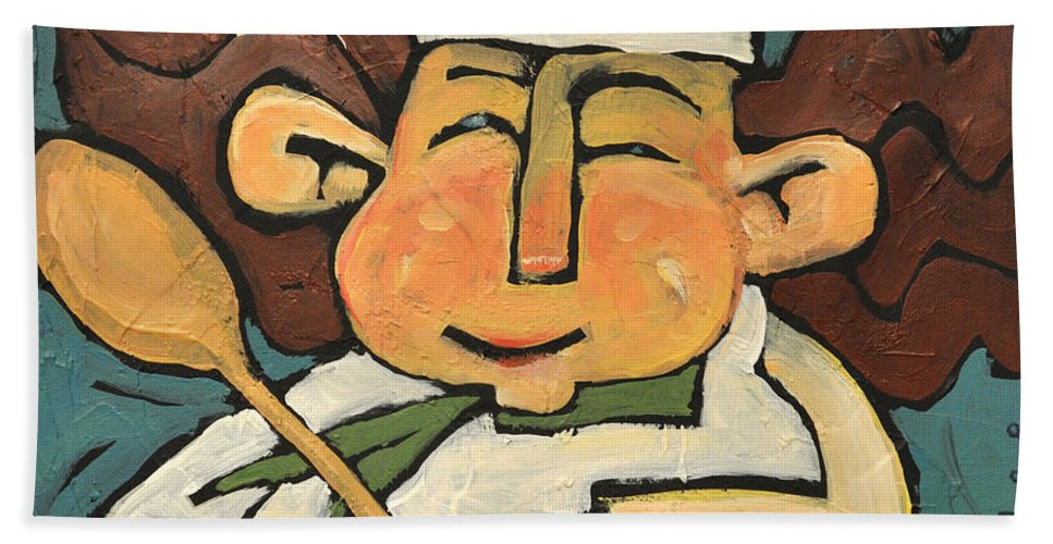 Chef Hand Towel featuring the painting The Happy Chef by Tim Nyberg