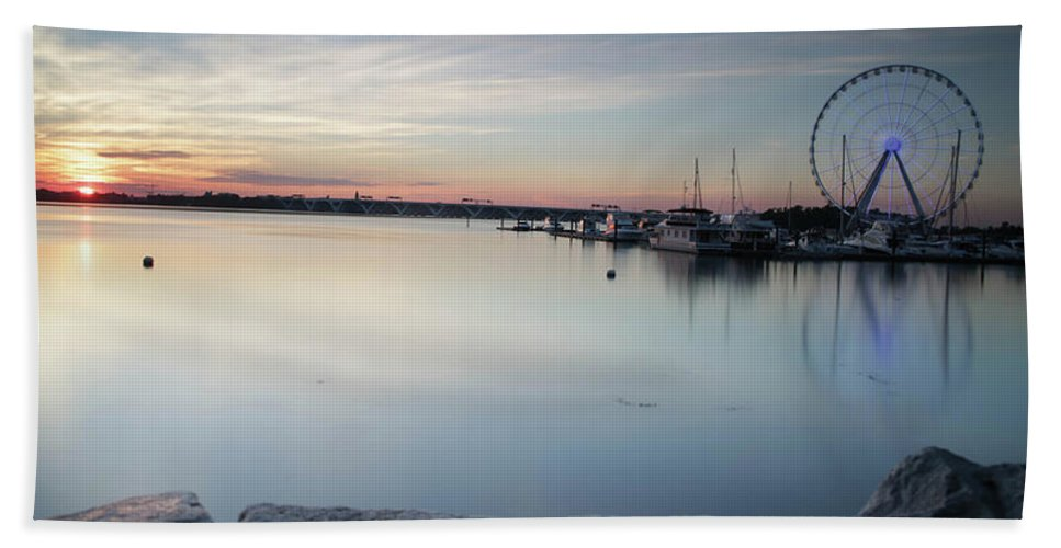 Bath Sheet featuring the photograph The Harbor by Darren Edwards