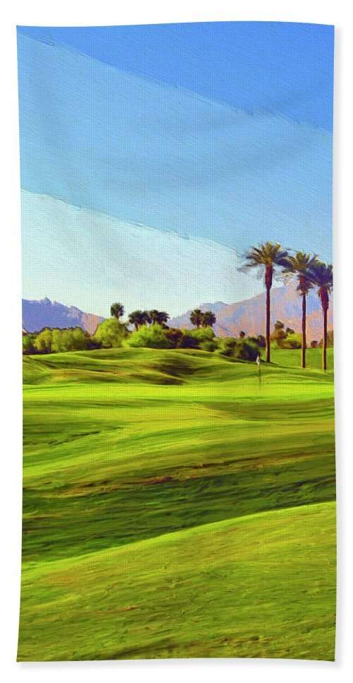 Golf Hand Towel featuring the painting The Hard Way Home by Dominic Piperata