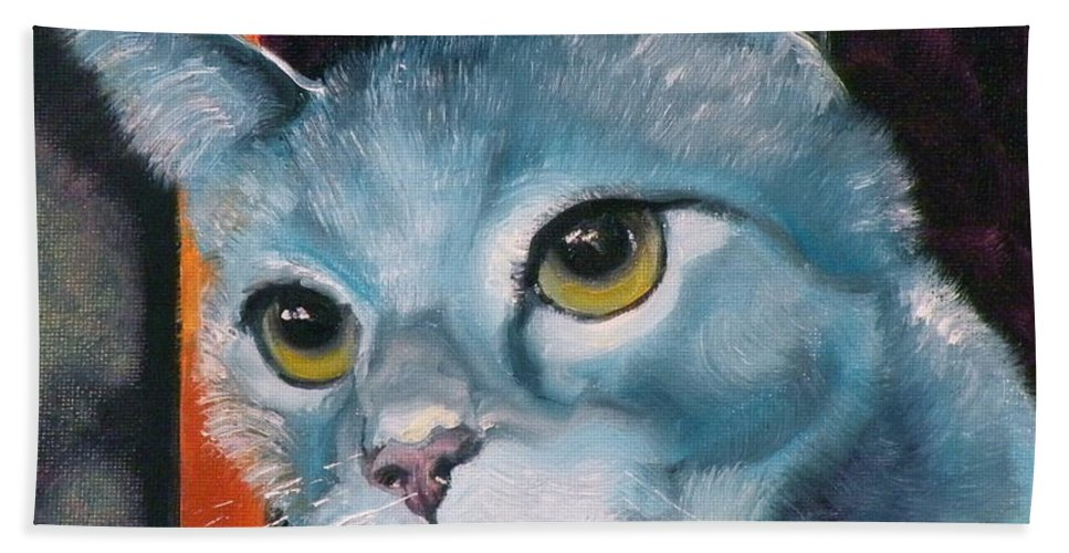 Cat Bath Sheet featuring the painting The Heart Is A Lonely Hunter by Susan A Becker