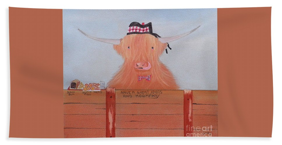 The Highland Cow Bath Sheet featuring the pastel The Heiland Coo At Christmas by Gordon Ogilvie