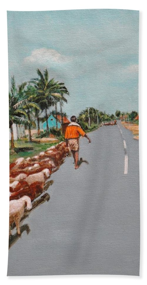 Bath Sheet featuring the painting The Herd 1 by Usha Shantharam